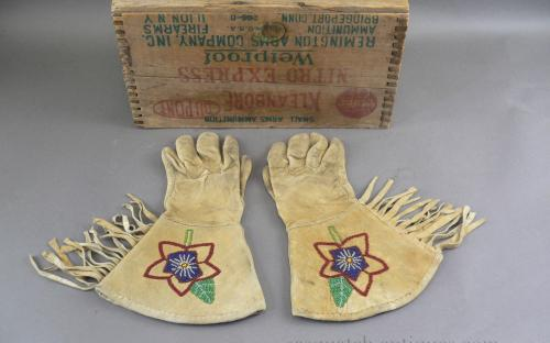 Native American Gauntlet beaded fringed cowboy riding gloves for sale