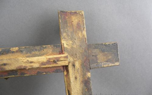 Antique 5 step hand carved gilt paint tramp art frame for sale
