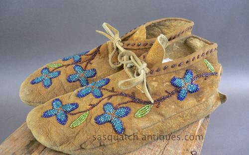 Floral pattern native american glass beaded deer hide moccasins