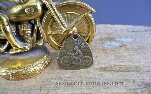 Vintage AMA pre war trophy topper hardtail Harley or Indian & 1940 Gypsy tour numbered key fob for sale