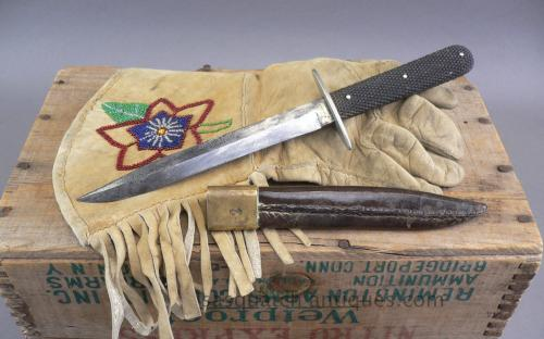 Taylor eye witness bowie knife with sheath Post civil indian war era gutta percha handle