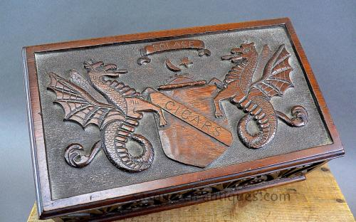 Antique folk art carved walnut cigar box Hippocamp figures
