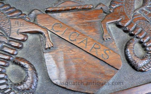Antique folk art carved walnut cigar box Hippocamp figures for sale