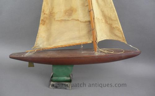 "Vintage handmade 24"" pond yacht with sails folk art sale"