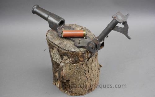 Antique cast iron stump burglar cemetery pinfire breech loading cannon for sale