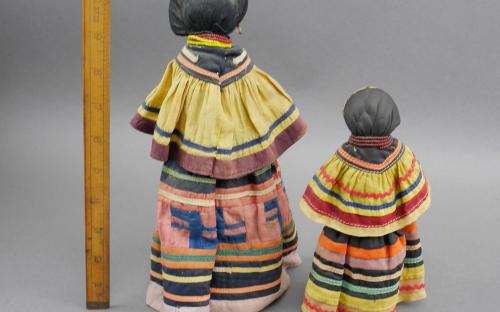 Vintage 30's - 40's Seminole Indian dolls patch work dress palmetto fiber body