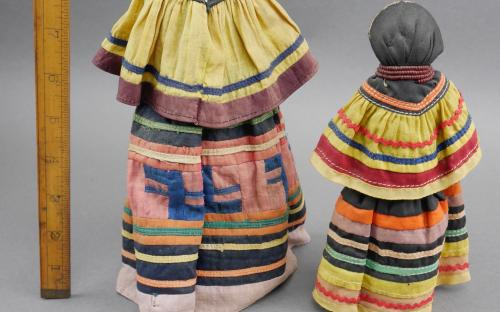 Vintage 30's - 40's Seminole Indian dolls patch work dress palmetto fiber body for sale