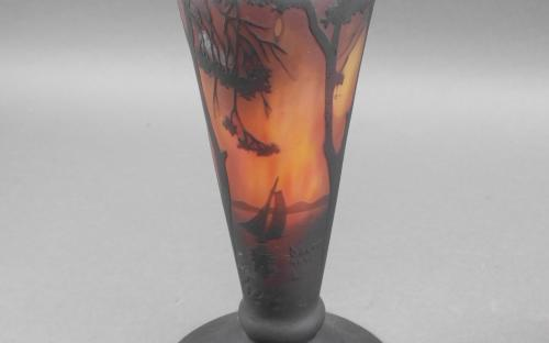 Antique signed Daum Nancy lakeside scene lamp for sale