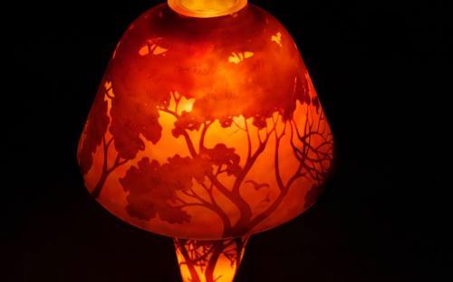 Antique signed Daum Nancy lakeside scene lamp for sale