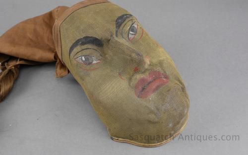 "Antique IOOF odd fellows wire mesh fraternal ritual mask folk art ""chinaman"" for sale"