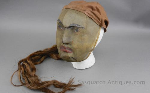 "Antique IOOF odd fellows wire mesh fraternal ritual mask folk art ""chinaman"" for sale DeMoulin"