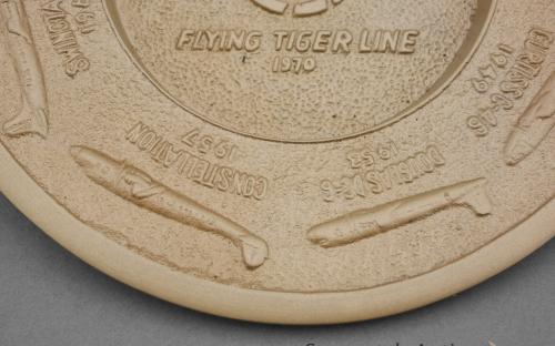 Vintage flying tigers airlines 25th anniversary brass ashtray circa 1970 for sale