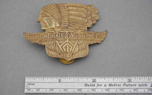 Pre TWA type 1 30's Transcontinental & Western air transport airlines pilots cap badge for sale
