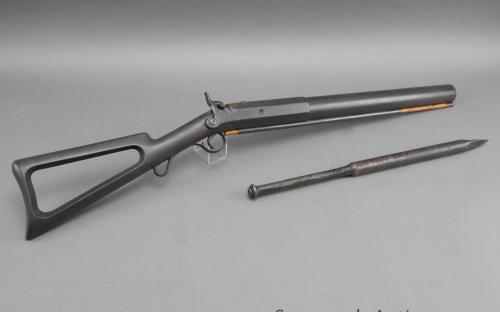 "CC brand 19th century shoulder fired whaling gun 1 1/8"" bore with lance for sale"