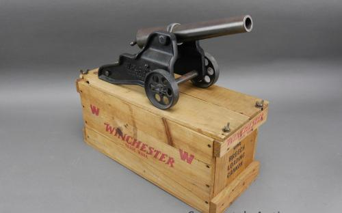 Vintage WRA 10 gauge signal cannon with wood crate for sale