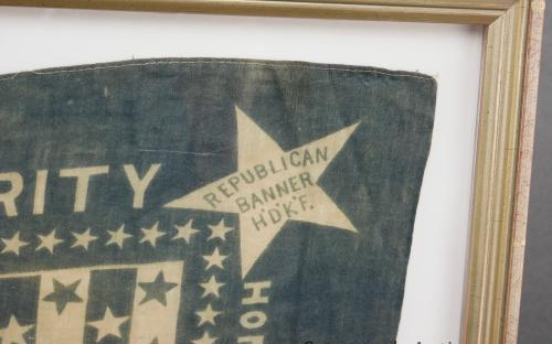 Framed antique 1888 Harrison and Morton presidential republican campaign banner / handkerchief by Cochrane's for sale