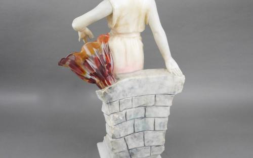 "24"" tall Art deco alabaster and marble lamp by listed sculptor Enrico Brunelleschi 1905-35 for sale"