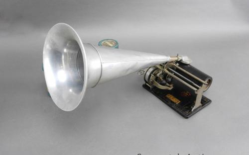 Antique Columbia Q type Graphophone key wind wax cylinder player and witches hat speaker reproducer for sale