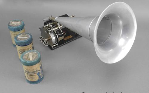 Antique Columbia Q type Graphophone key wind wax cylinder player and witches hat speaker for sale