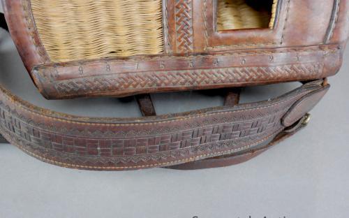 Vintage George Lawrence tooled leather 4AP model Tillamook fishing creel and harness Portland Oregon for sale