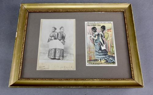 Framed cabinet photo and Victorian trade card of Conjoined twins sideshow performers Millie Chirstine McKoy the two headed nightingale black Americana