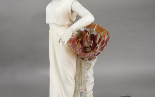 "24"" tall Art deco alabaster and marble lamp by listed sculptor Enrico Brunelleschi 1905-35"