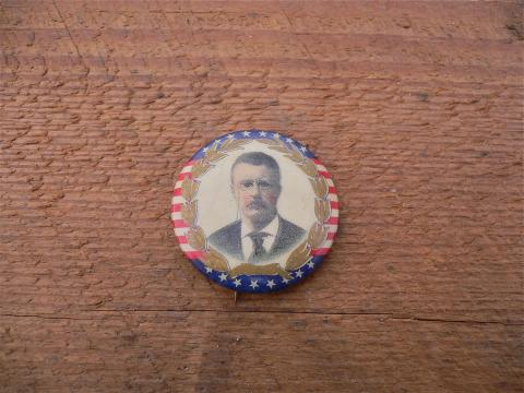 Antique Teddy Roosevelt FF Pulver political pinback pin button with backpaper 1904 patent