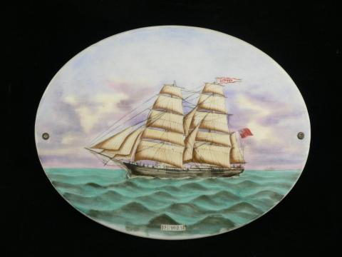Antique 19th century Canadian sailing ship Simoda hand painted porcelain plaque