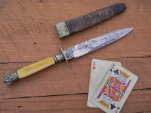 Civil war era Unwin & Rodgers ivory handled clip point bowie knife
