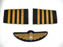 Vintage Japan airlines JAL bullion pilots wings and shoulder boards epaulettes for sale