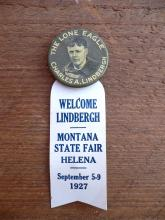 Vintage 1927 Charles Lindbergh Lone eagle Whitehead and Hoag pinback button Helena Montana state fair