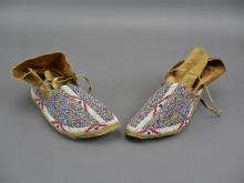 Antique 1900's plains Indians beaded buffalo foot mocassins