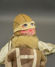 Rare WWII US homefront toy figure pilot aviator with parachute and camouflage jump suit