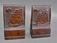 Nautical theme signed hand carved Mahogany clipper ship folk art bookends