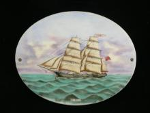 Antique 19th century Canadian sailing ship Simoda hand painted porcelain plaque